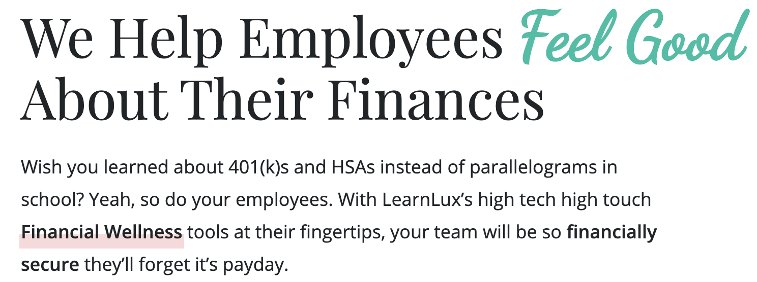 learnlux helps employees feel good about their finances